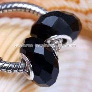 5x Black Crystal Glass European Bead For Chain Bracelet