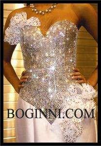 BOGINNI&CO SPARKLY WHITE ROSES DIAMOND CRYSTAL PROM / WEDDING BRIDAL