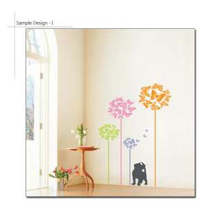 Butterfly Flower & Cat Vinyl Decal Mural Wall Stickers
