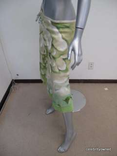 Rozae Nichols Green Floral Crystal Bottom Skirt S