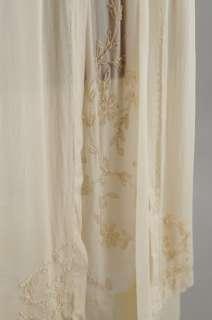VINTAGE 20s Edwardian Sheer RYAON Silk Beaded Flapper WEDDING DRESS S