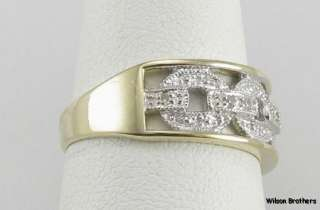 DIAMOND Chain Link Ladies RING 14k White & Yellow Gold
