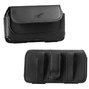 Black Leather Cover Fit Horizontal Pouch Carry Case Magnetic Closing