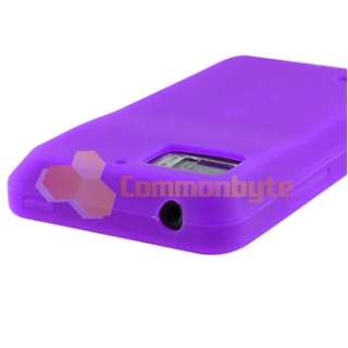 Purple Gel Case+Privacy Film+Car Charger+Cable For Motorola Droid