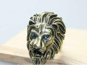 Womens Mens Vintage Retro Bronze Cool Rhinestone Lion King Punk Ring