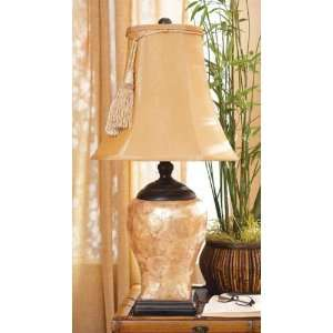 27 European Inspired Rich Gold Tone Shell Table Lamp with Tassel