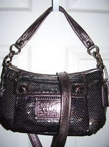NWT COACH POPPY POP C DARK SILVER DISCO SEQUINS GROOVY GLAM HOBO BAG
