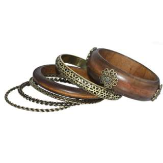 Set of 6 Trendy Bangles in Antique Gold / Silver Tone & Stain Wood