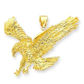 14k Yellow Gold Casted Polished Solid Flying Eagle Charm Pendant