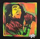 Bob Marley Singing T Shirt in Black Radio Days Licensed Rasta Colors