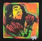 Bob Marley Singing T Shirt in Black Radio Days Licensed Rasta Colors