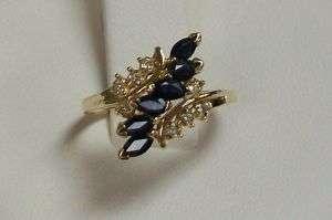 14K Gold Blue Sapphire and Diamond Waterfall Ring