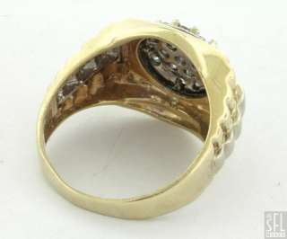 GOLD 1.14CT DIAMOND CLUSTER MENS PRESIDENTIAL RING SIZE 12.5