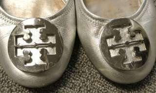 Tory Burch SILVER Leather REVA Ballet Flats 8
