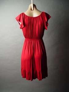 ROSE Brooch Flutter Slv Ruffle Hem Jersey Knit Dress M