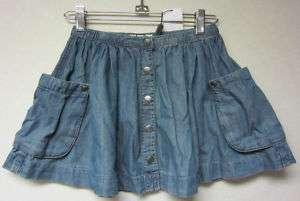 BURBERRY GIRLS SNAP FRONT DENIM BLUE SKIRT Sz12 NWT$105