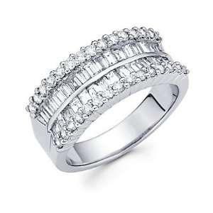 Size  12.5   14k White Gold Diamond Channel Set Anniversary Wedding