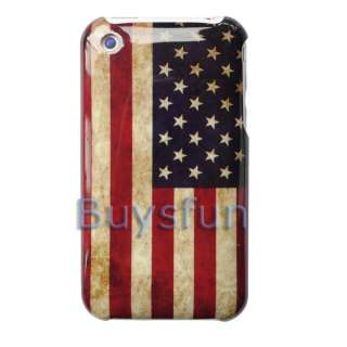 Retro look USA American Flag Hard Case Cover For Apple iPhone 3G 3GS