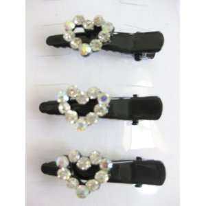 3pc Clear Rhinestone Hearts Black Metal Hair Clips For Girls Beauty