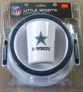 COWBOYS DINNER SET KIDS BABY CHILDREN PLATE CEREAL BOWL SPOON FORK NFL