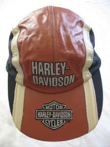 NEW LEATHER   Harley Davidson Embroidered Bar Shield Logo Cap, Orange