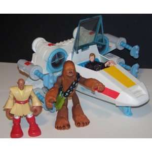 Star Wars Playskool Action Figures & Electronic X wing Starfighter Lot