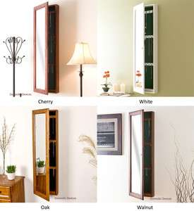 Locking Jewelry Armoire with Full Length Mirror   Solid Wood Jewelry