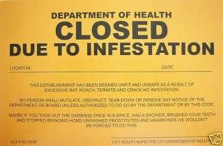 PRANK NOTICE   ( Infestation ) Novelty Sign^
