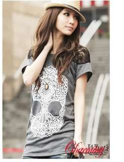 Women Sexy Lace Hollow Out Skeleton Skull T shirts G227