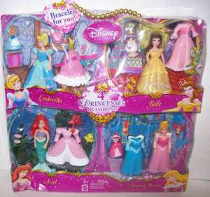 Disney Princess Polly Pocket Dolls Set/4 Ariel Belle +