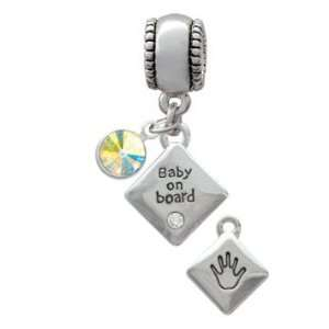 2 D Baby on Board Sign with Foot Print European Charm