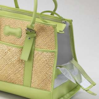 SMALL South Beach Straw Pet Carrier up to 15 lbs Green