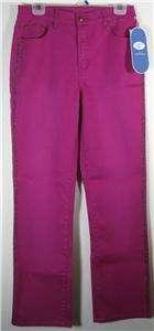 DG2 Diane Gilman Stretch Denim Studded Boot Cut Jeans, Sz 6, Fuschia