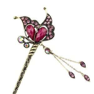 Czech Rhinestone Antique Brass Hair Stick Butterfly with