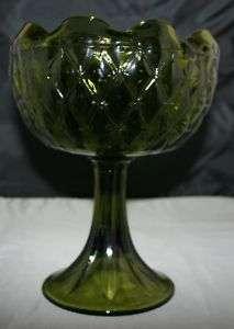 Vtg Depression Glass Footed Fruit Bowl Compote Green