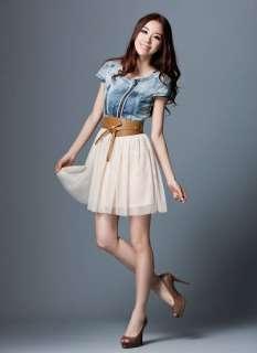 Vintage Retro Jean Denim Party Dress Lady Blue Top White Skirt With