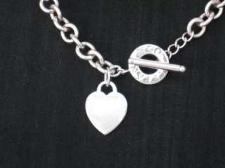 Tiffany & Co Company Sterling Silver Toggle Heart Tag Charm Necklace