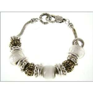 Silver Tone Linked Braclet with White and Gold Tone Accented Charms