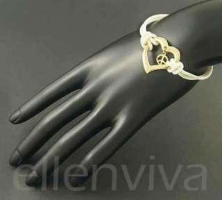 Unique Peace in Heart White Rubber Cord Bracelet White and Gold Tone