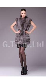 and Raccoon Fur Fashion women Vest waistcoat gilet sleeveless