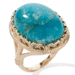 Cabochon Turquoise Ring 14K Yellow Gold Clad Silver 925 Gemstone
