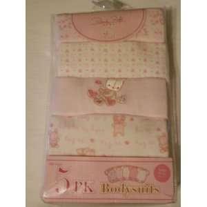 5 Pack Pink White Heart Flower Teddy Bear Baby Girl Onesie