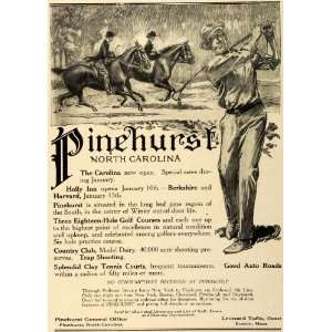 1912 Ad Pinehurst North Carolina Resort Hotel Holly Inn Golf Horseback