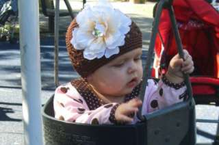 Crochet Flower Beanie Hat Cap Infant Toddler girl