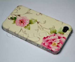 New Brown Flower PU hard case back cover for iphone 4 4S