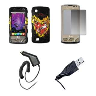 for LG Chocolate Touch Love Case+Shield+Car Charger+USB