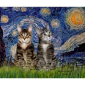 Starry Night   Two Tabby Tiger Cats Mousepad