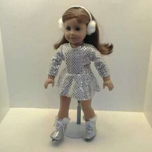 Silver Sequin Skating Outfit for American Girl Dolls Toys & Games