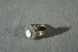 ANTIQUE STERLING SILVER OVAL OPAL 10 ROUND EMERALD BOLD REGAL FANCY