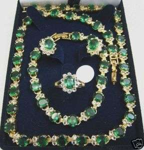 14K gold filled green jade Necklace Bracelet Earring Ring sets